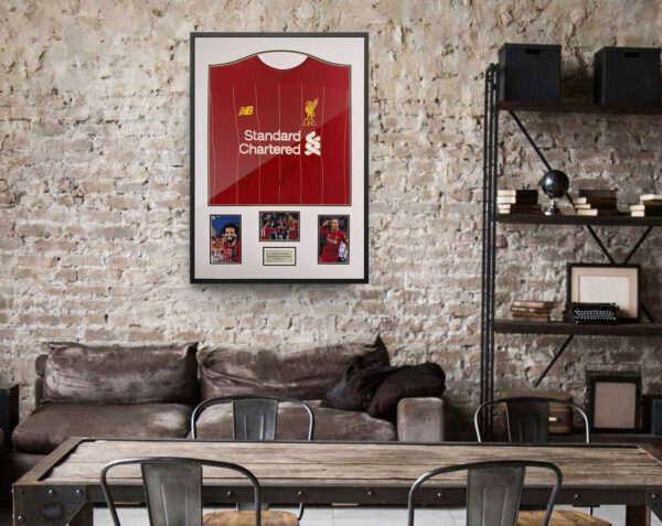 salah van dijk signed shirt background