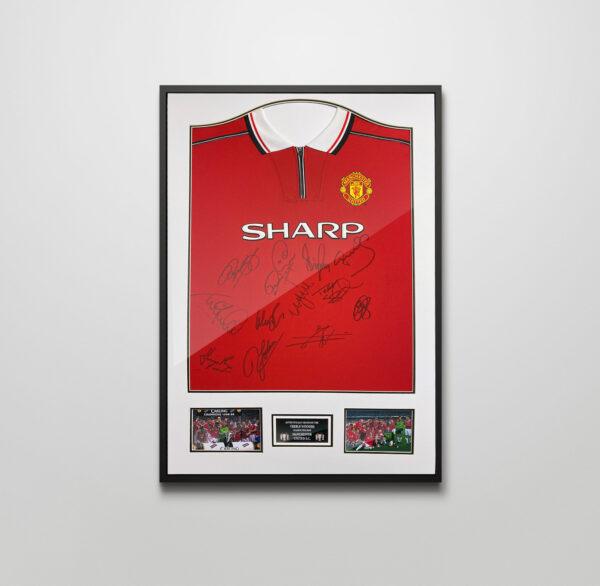 man united 1999 framed signed shirt