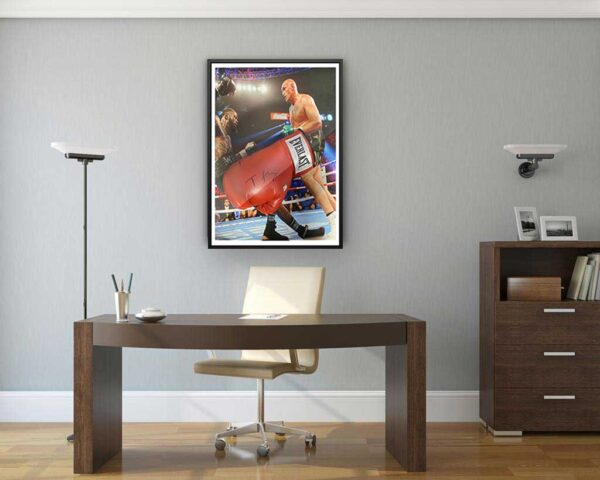 authentically signed tyson fury glove background