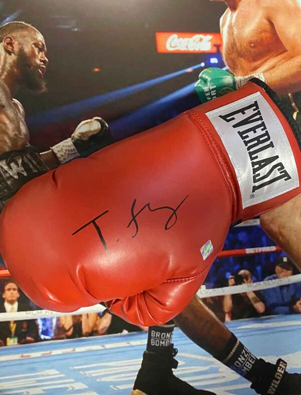 authentically signed tyson fury glove up close