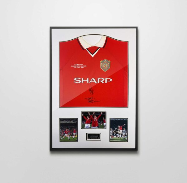 authentically signed ole solskjaer sheringham 1999 shirt